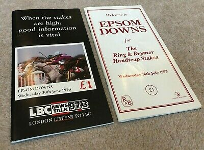 £5.99 • Buy 2 1993 Epsom Downs Race Cards, Wed' 30th June & Wed' 28th July