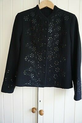 Caroline Charles Black Wool Crepe Embroidered Evening Jacket, UK 10 • 40£