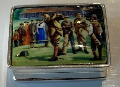 Rare Sterling Silver Pill Box With Enamel Lid With Golf Scene • 64.99£