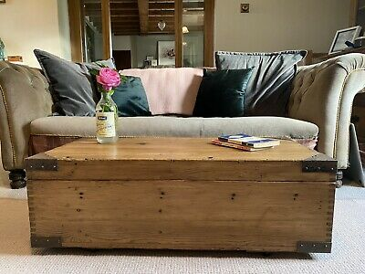 Old PINE CHEST, Wooden Blanket TRUNK, Coffee TABLE, Vintage Storage BOX, Rustic • 51£