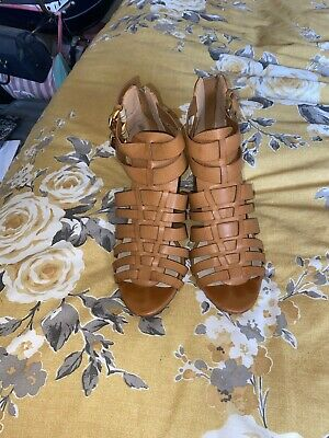 Tan Gladiator Heeled Sandals, Wide Fit, Size 5, Next • 10£
