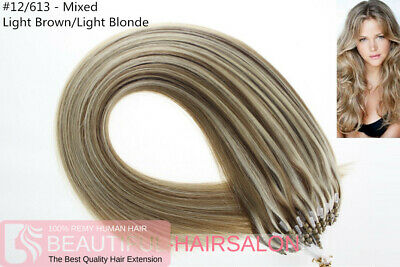 £33.50 • Buy 20  Highlights Double Drawn Micro Loop Ring Beads Human Hair Extensions #12/613M