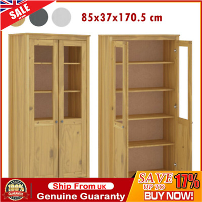 Highboard Solid Pine Display Unit/Bookcase W/Double Glass Doors 5Shelves Cabinet • 237.09£