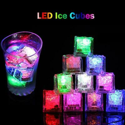 12pc Water Light Up LED Ice Cube Color Changing Party Luminous DIY Submersible • 6.79£