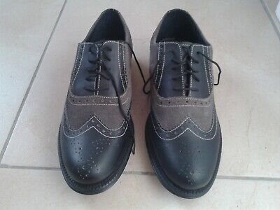 Mens Two Tone Brogue Black Leather And Grey Suede Shoe Combo Size 8 (Gangster St • 18.20£