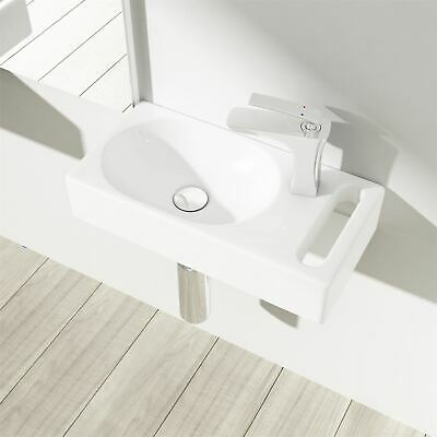 Small Cloakroom Wash Basin White Ceramic Sink Wall Mounted With Towel Rail • 38.69£