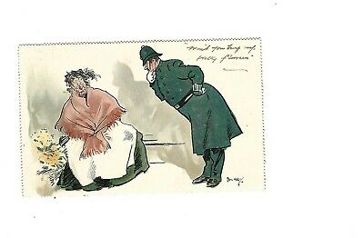 Postcard Phil May-Would You Buy My Pretty Flowers 1914 • 6£