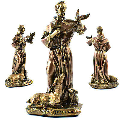 SAINT ST FRANCIS OF ASSISI STATUE 8.8cm 3.4  RESIN FIGURINE Jesus Catholic Gift • 10.99£