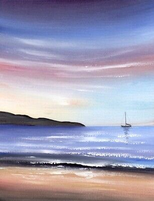 WATERCOLOUR PAINTING SEASCAPE, Dawn Sky, Sea, Beach, Boat, Sarah Featherstone • 12£