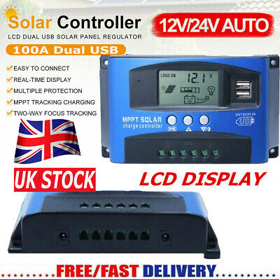 100A LCD MPPT Solar Panel Battery Regulator Charge Controller Dual USB 12V 24V • 20.99£