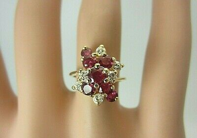 £460.68 • Buy 14k Yellow Gold Ruby And Diamond Ring Cluster 1.46 CT TW