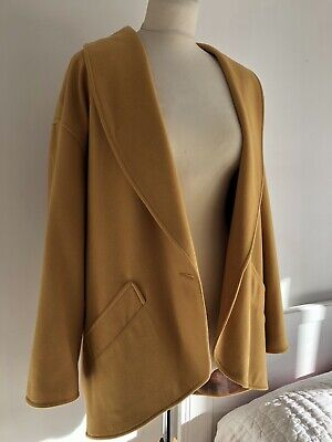 Cashmere Coat Uk12 Ochre/Mustard 80's Slouch Fit Wool Blend Excellent Condition • 13.99£