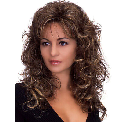 £12.39 • Buy Women 80s Style Real Natural Full Wig Ombre Brown Medium Curly Hair Wigs Cosplay