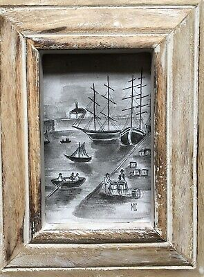 Original Small Watercolour Black & White Painting Artwork Sea Ship Boat Harbour • 14.99£