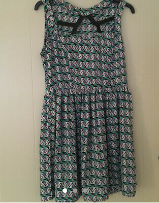 Hearts And Bows Geo Print Skater Dress With Cut Out Neck Detail Size 10 • 2£
