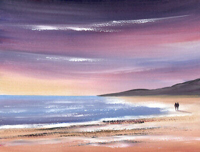 WATERCOLOUR PAINTING SEASCAPE, Beach Walk At Dusk, Sea, Sand, Sarah Featherstone • 12£