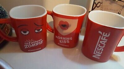 3 Nescafé Coffee Mugs Collectable Morning Kiss Zombie  & 1 Plain Red Cups Cheeky • 12.95£
