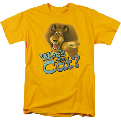 Madagascar Whos The Cat T Shirt Mens Licensed Movie Tee Alex The Lion Gold • 14.46£