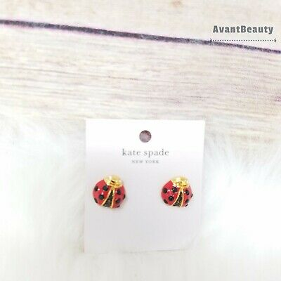 """$ CDN31.46 • Buy Kate Spade Earrings """"little Ladybug"""" Red Gold Black With Dust Bag New With Tag"""