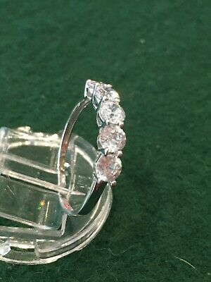 9ct White Gold Cubic Zirconia Eternity Ring Size P • 60£