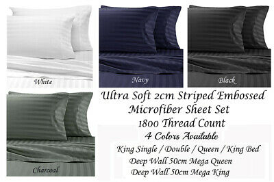 AU49.50 • Buy 40cm Or 50cm Wall 2CM Striped Microfibre Sheet Set Queen King Bed Sizes 1800TC