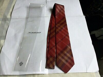 Burberry Claret Forever Check Silk Tie.bnwot,plastic Sleeve. Handmade In England • 14.99£