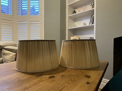 Pair Of Gold Large Pleated Laura Ashley Lamp Shades • 7.20£
