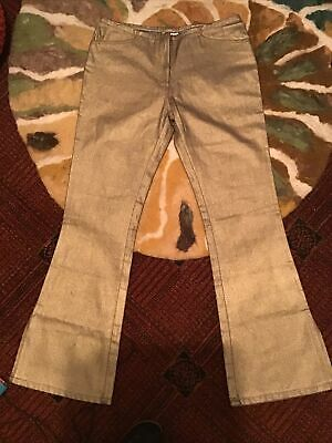 Retro 70s Disco Gold Coated Flared Jeans Abba Fancy Dress Hippy Hipster Party 12 • 15£