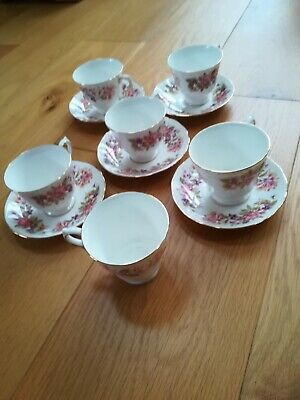 Colclough Wayside 6 X Tea Cups And 5 X Saucers Used, Fair To Good Condition. • 3£