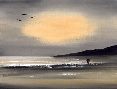 SEASCAPE WATERCOLOUR PAINTING, Evening Beach Walk, Sea, Sarah Featherstone ART • 12£