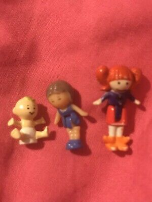Polly Pocket Vintage Figures Baby 1989 Brunette Purple Dress Red Hair Bunches • 4.99£