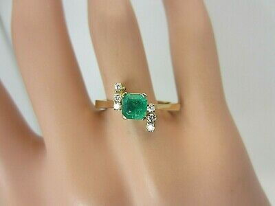 £333.78 • Buy 18k Yellow Gold 0.60 Ct Colombian Emerald And Diamond Ring 0.72 Ct TW
