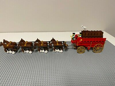 $ CDN634.34 • Buy LEGO Custom Budweiser 8 Clydesdale Horses / Beer Wagon Barrels Moves And Works