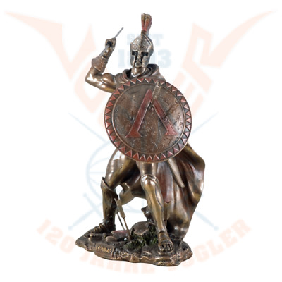 LEONIDAS Greek Warrior SPARTAN KING Statue W Spear & Arrows In Hoplite Shield. • 53.50£