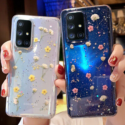 $ CDN5.94 • Buy For Samsung S21 S20 FE A21S A51 A71 Pressed Real Flower Glitter Clear Case Cover