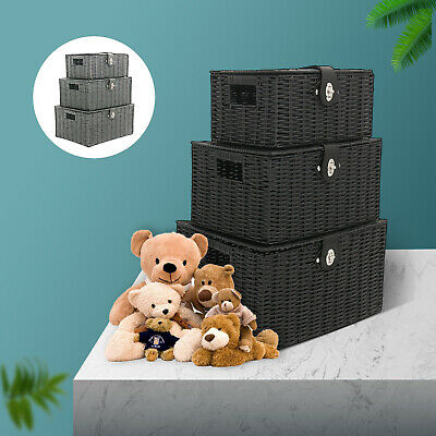 SET OF 3 Storage Baskets Resin Wicker Woven Hamper Tidy Box With Lid & Lock GIFT • 19.89£
