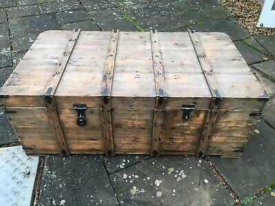 Large Solid Wooden Chest/Blanket Box/Storage Trunk/Coffee Table Furniture • 26£