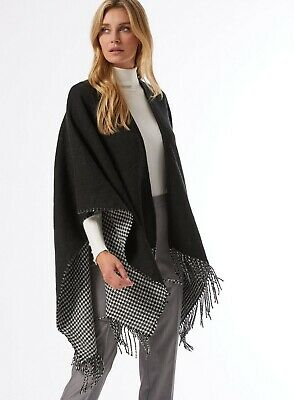 £10.99 • Buy Dorothy Perkins Womens Black Houndstooth Cape Fashion Warm Winter Style S/M