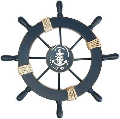 £24.79 • Buy Wooden Pirate Tiller Ship Wheel Wall Decoration With Anchor