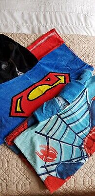 Spiderman + Superman Beach Hoodies, Towels, Swimming Throws One Size • 5£