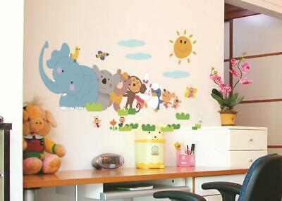 Safari Train Wall Stickers Children Room Decoration Stickers Jungle Animals • 5.94£