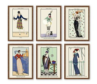 5x7'' VINTAGE STYLE FASHION PRINTS Poster Art Deco French Girl FIT IKEA FRAMES • 8£