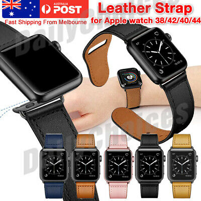 AU13.89 • Buy Genuine Leather Strap IWatch Band For Apple Watch Series 6 5 4 3 2 1 SE 40mm 44
