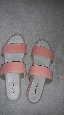 Size 9 Peach And Cream Suede  Slip On Sandals By Hush Puppies  Perfect Condition • 12£