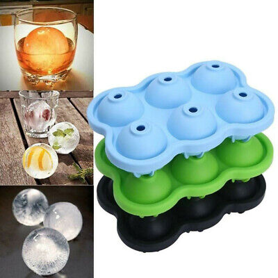UK 6Hole Whiskey Ice Cube Ball Maker Mold Tray Big Rubber Sphere DIY Round Mould • 4.69£