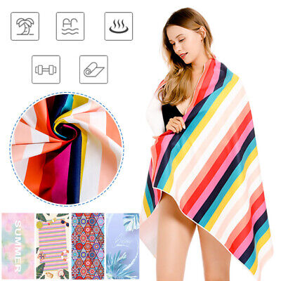 AU20.89 • Buy Adults Large Soft Quick Dry Microfibre Sand-Free Travel Light Beach Bath Towel