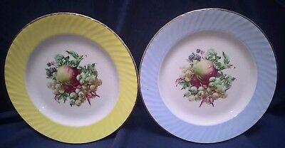 Barratts Delphatic China Fruit Plates - A Pair With Fruits 1/pale Blue/1 Lemon • 5.25£