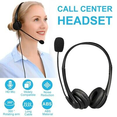 Headphones With Microphone USB Noise Cancelling Headset For Skype Laptop UK • 12.83£