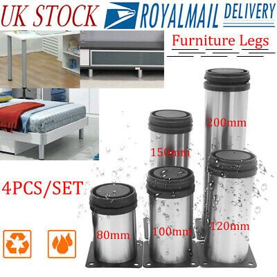 4pcs 8 To 20cm Stainless Steel Furniture Legs Adjustable Cabinet Sofa Table Feet • 12.23£
