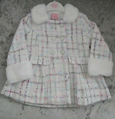 £20 • Buy  BNWT Baby Girls 2-(12-18 Months) White Faux Fur Trim Coat With Cheque Fabric